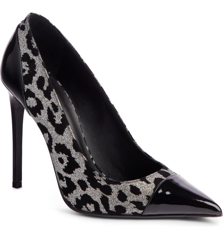 BALMAIN Daphne Leopard Print Pointy Toe Pump, Main, color, 002