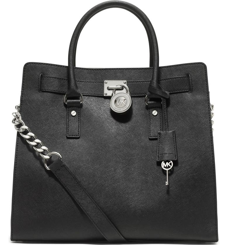 MICHAEL MICHAEL KORS 'Large Hamilton' Saffiano Leather Tote, Main, color, 001