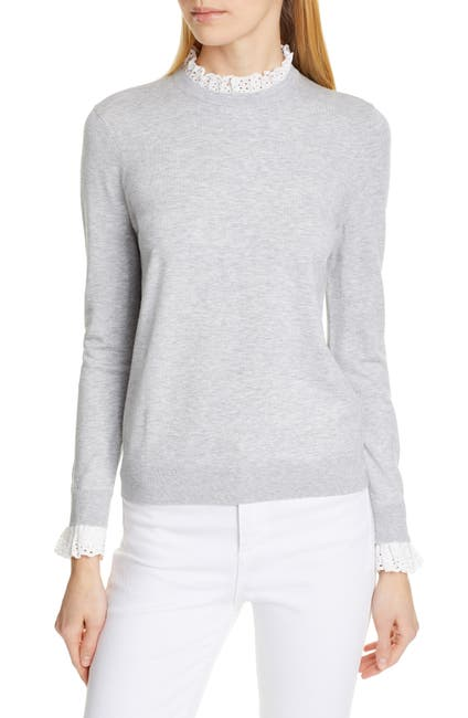 Image of Ted Baker London Kaytiie Broderie Lace Collar & Cuff Sweater