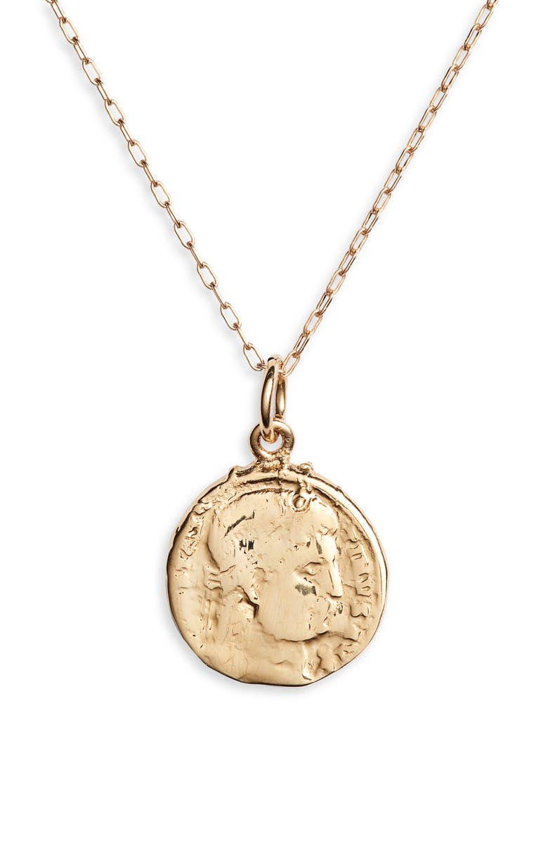 BRACHA Mini French Coin Pendant Necklace, Main, color, 710