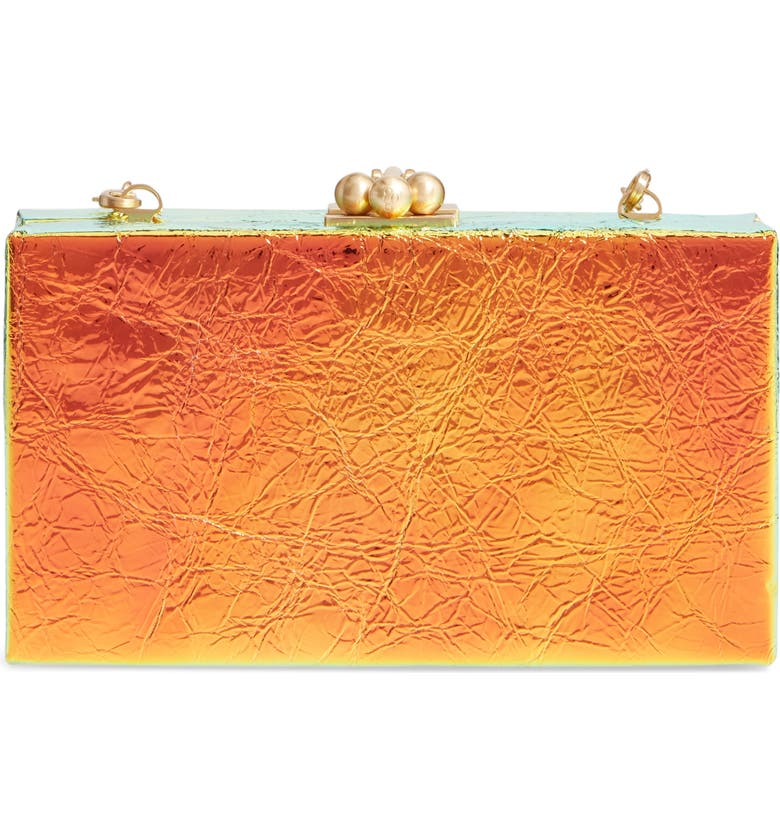 EDIE PARKER Jean Crinkled Metallic Leather Box Clutch, Main, color, BLOOD ORANGE