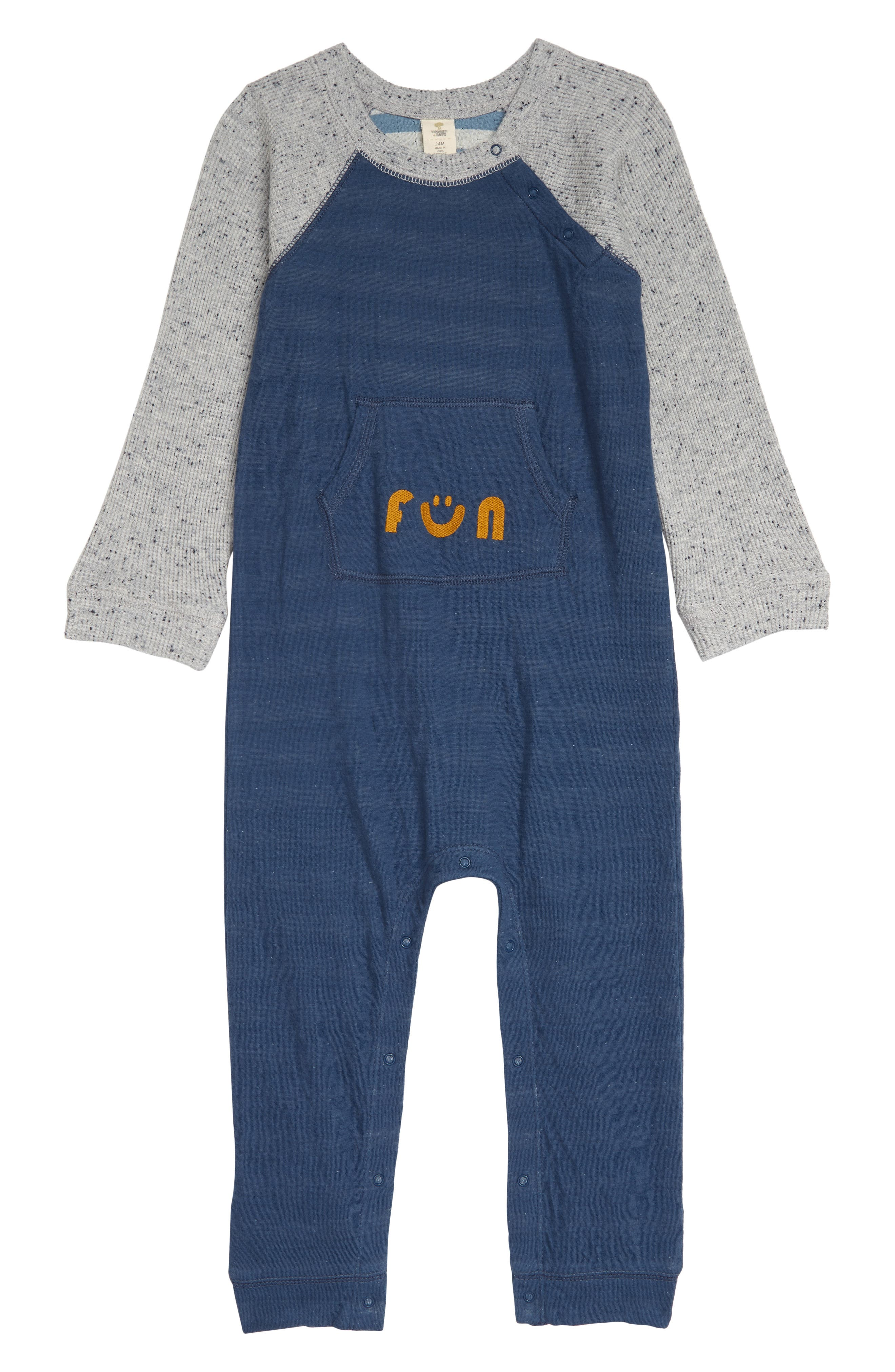 It\\\'s all spelled out-your little one is sure to have fun in this comfy cotton romper styled with flecked waffle-stitch sleeves. Snaps at the shoulder and between the legs make diaper changes a cinch. Style Name: Tucker + Tate Fun Waffle Sleeve Colorblock Romper (Baby). Style Number: 6011226. Available in stores.