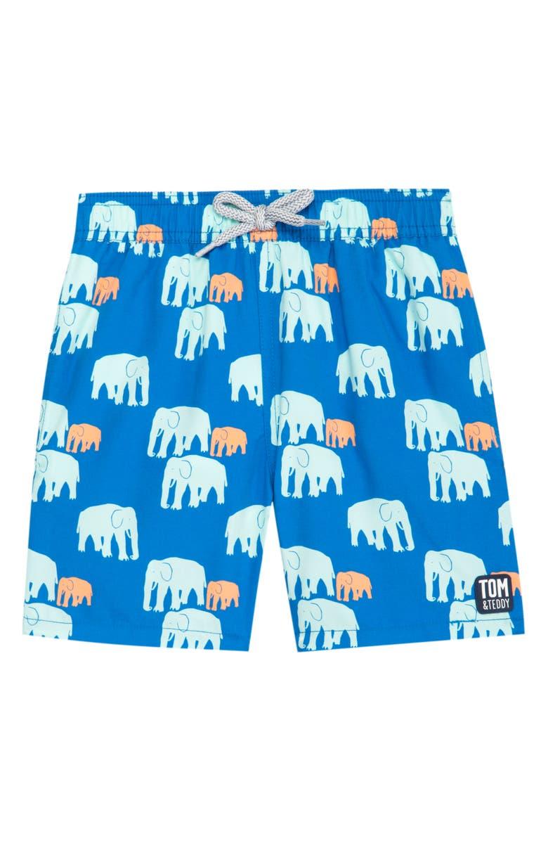 TOM & TEDDY Elephant Swim Trunks, Main, color, CHALKY BLUE