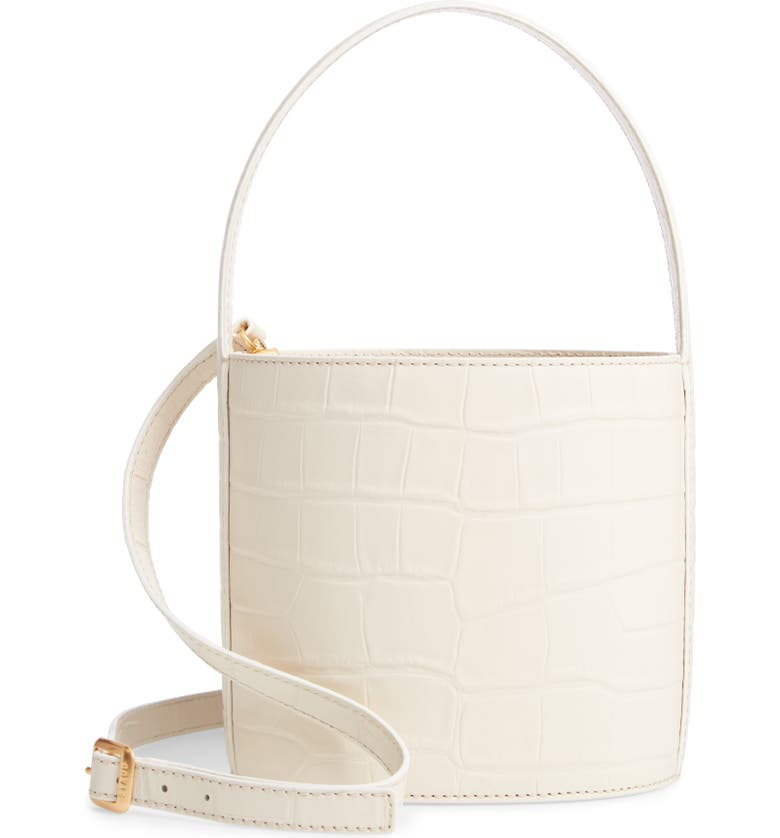 STAUD Bissett Croc Embossed Leather Bucket Bag, Main, color, CREAM