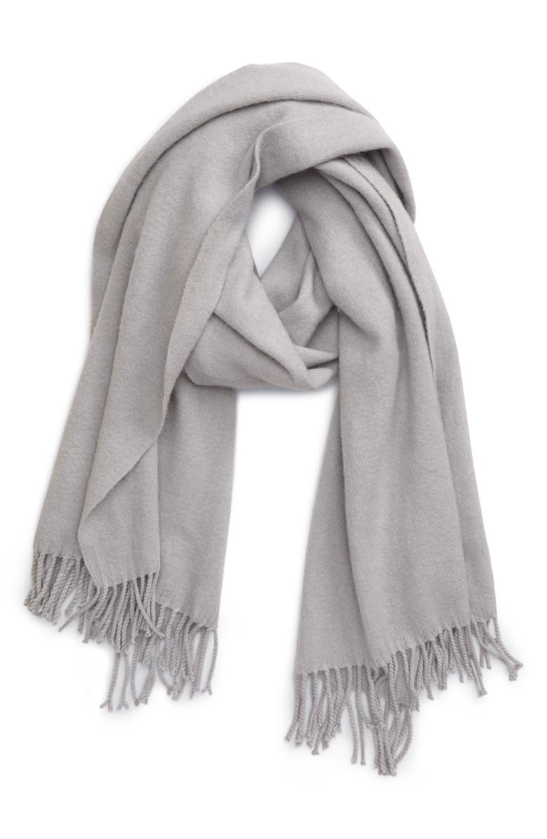 SOLE SOCIETY Fringe Scarf, Main, color, GREY