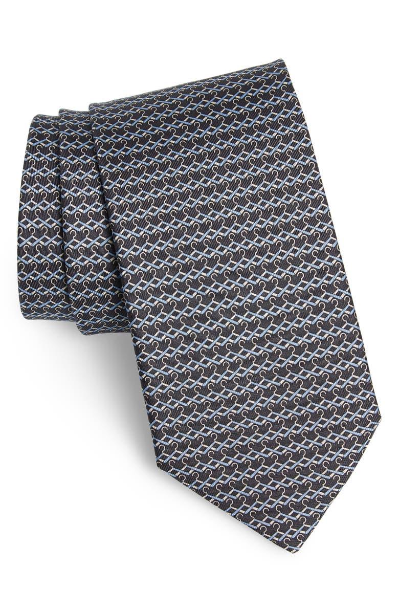 SALVATORE FERRAGAMO Indaco Print Silk Tie, Main, color, F.GRIGIO