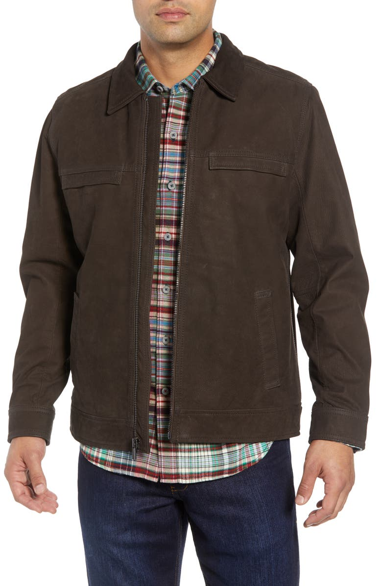 TOMMY BAHAMA Elliott Bay Leather Jacket, Main, color, COFFEE