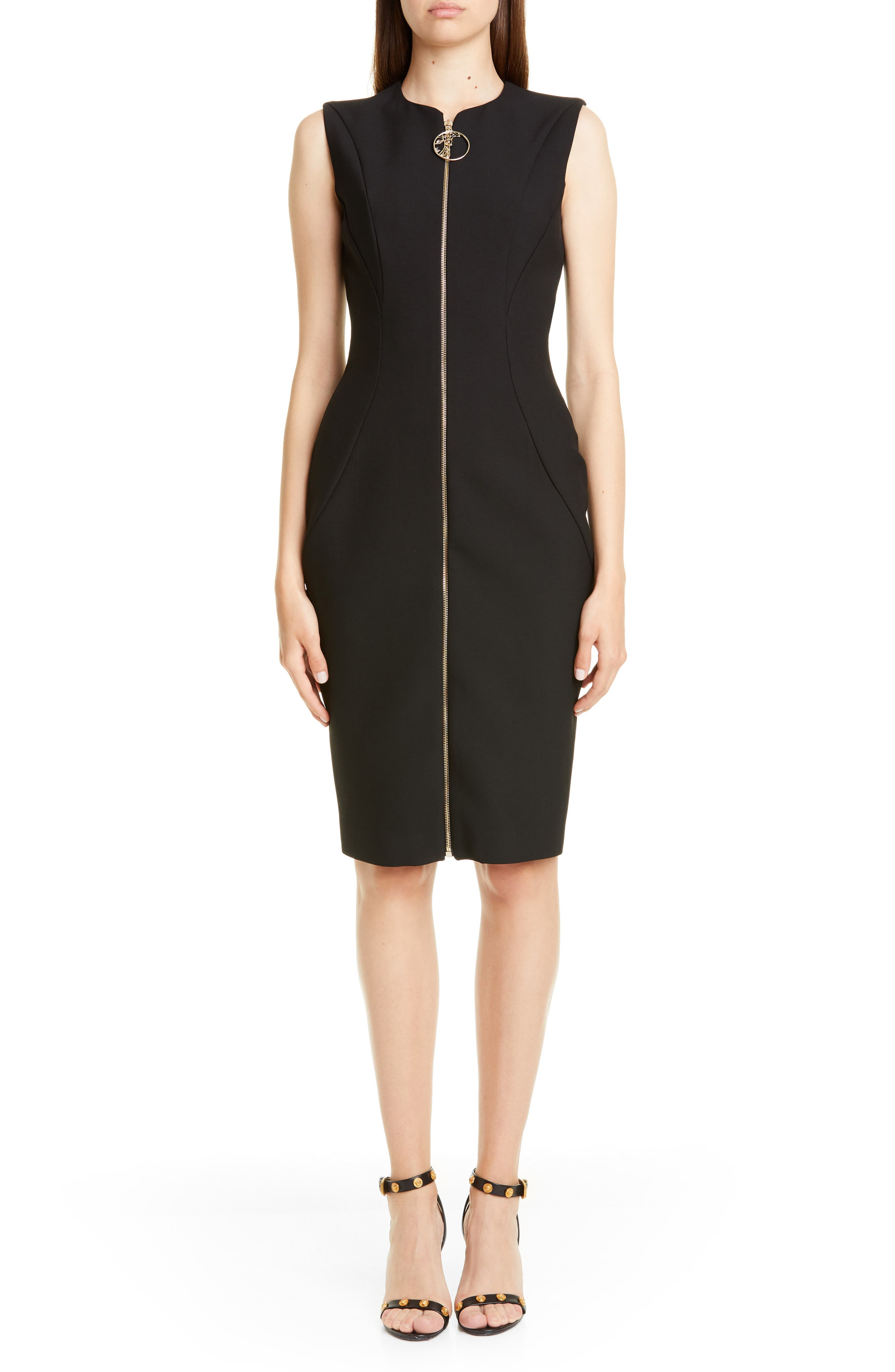 Versace Collection Crystal Embellished Zip Front Dress