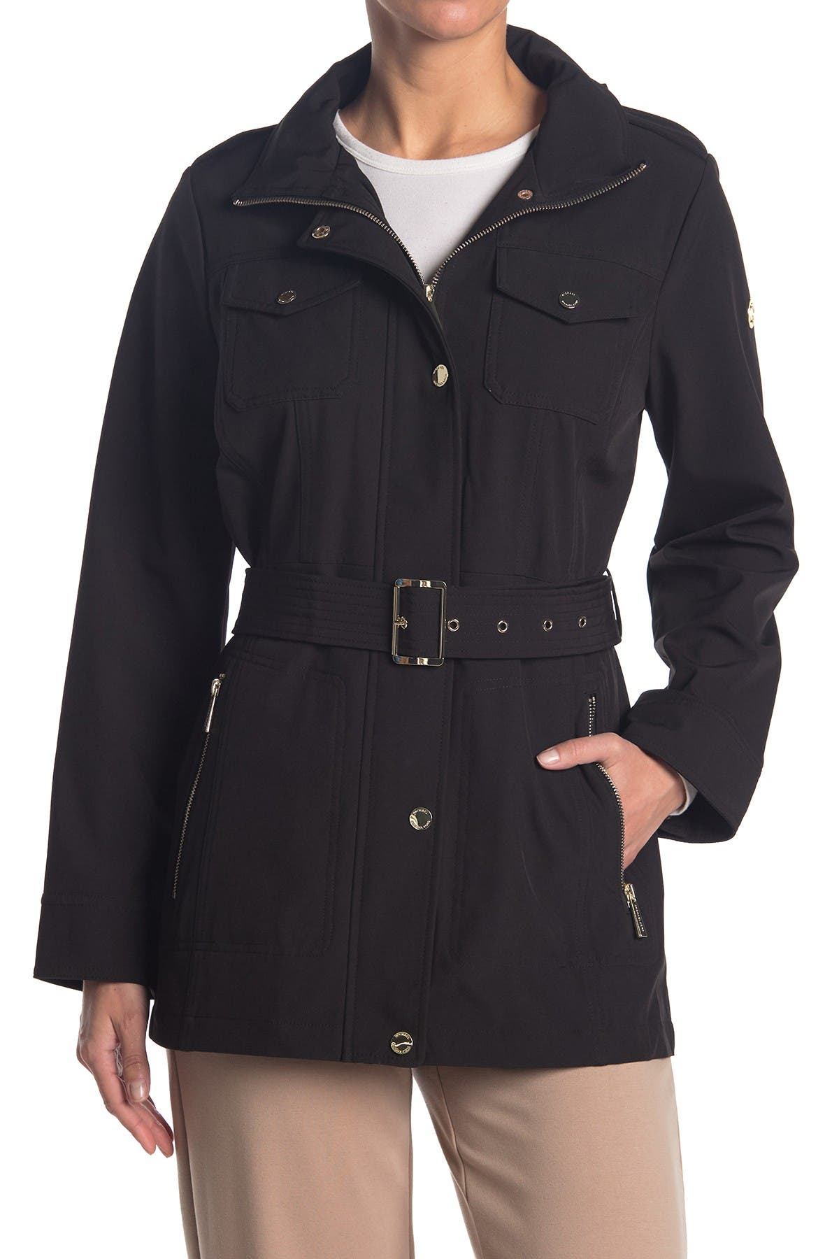 Image of Michael Kors Belted Soft Shell Hooded Jacket