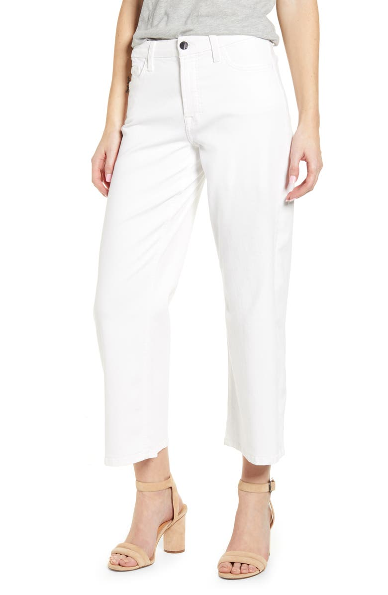 JEN7 BY 7 FOR ALL MANKIND Crop Wide Leg Jeans, Main, color, WHITE