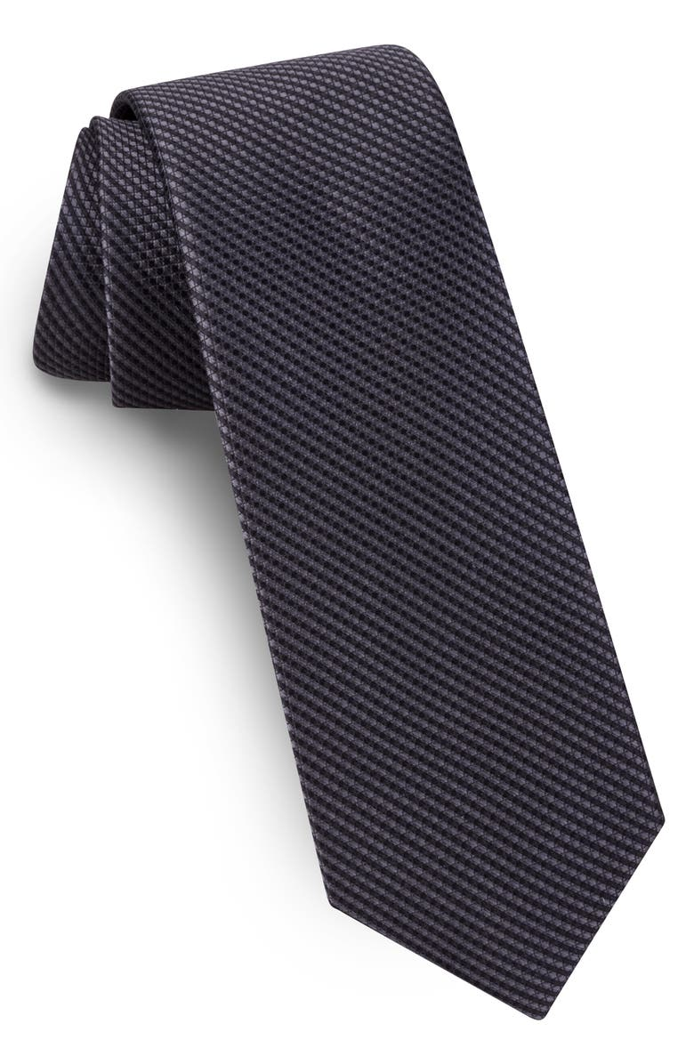 TED BAKER LONDON Solid Skinny Silk Tie, Main, color, JET BLACK