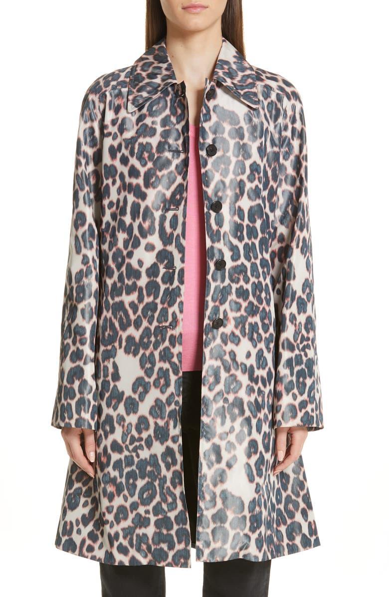 CALVIN KLEIN 205W39NYC Panther Print Taffeta Coat, Main, color, 900