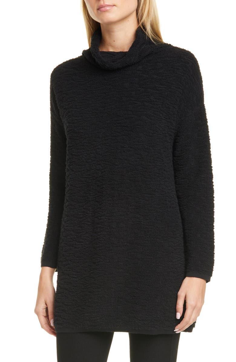 EILEEN FISHER Textured Scrunch Neck Organic Cotton Tunic Sweater, Main, color, BLACK