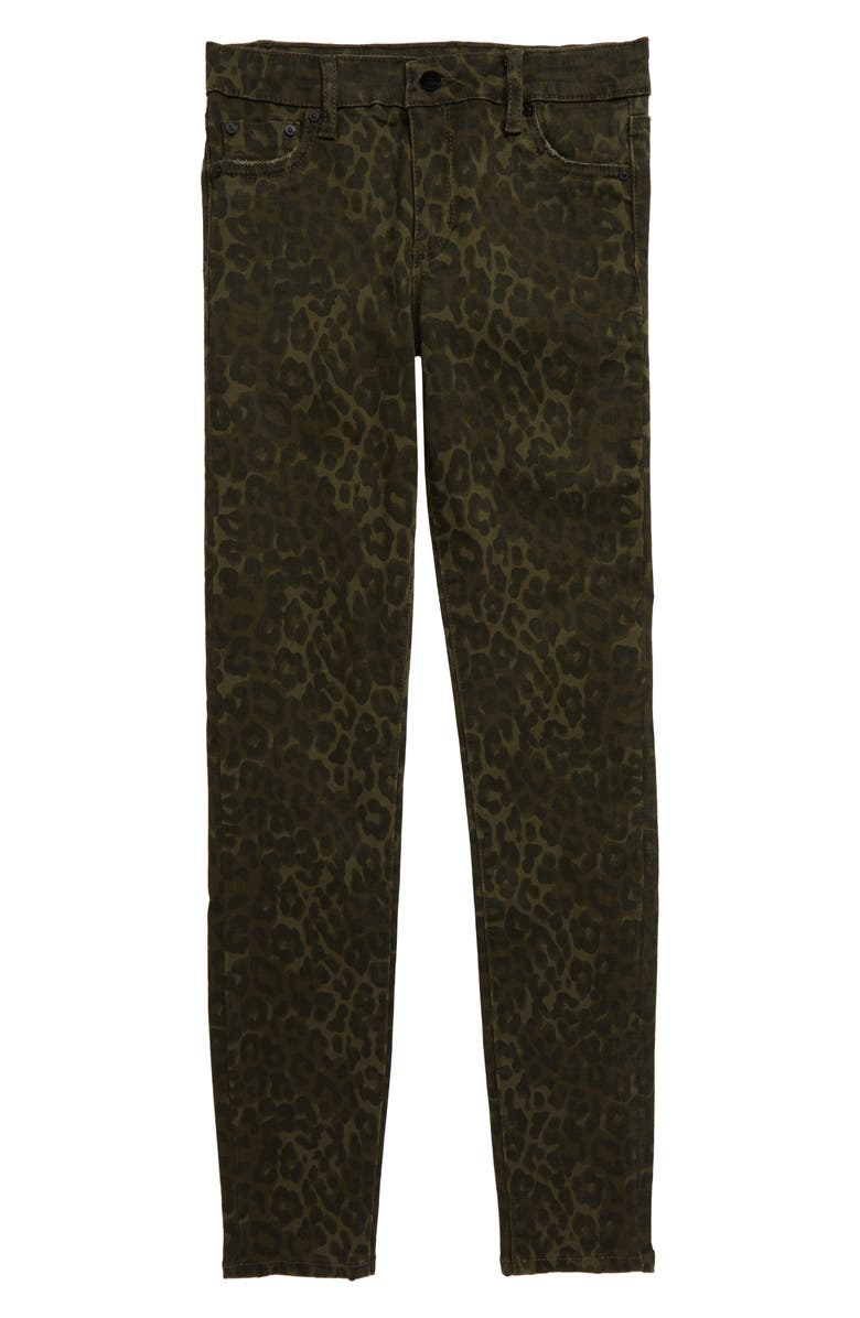 TRACTR Diane Mid Rise Skinny Jeans, Main, color, GREEN LEOPARD