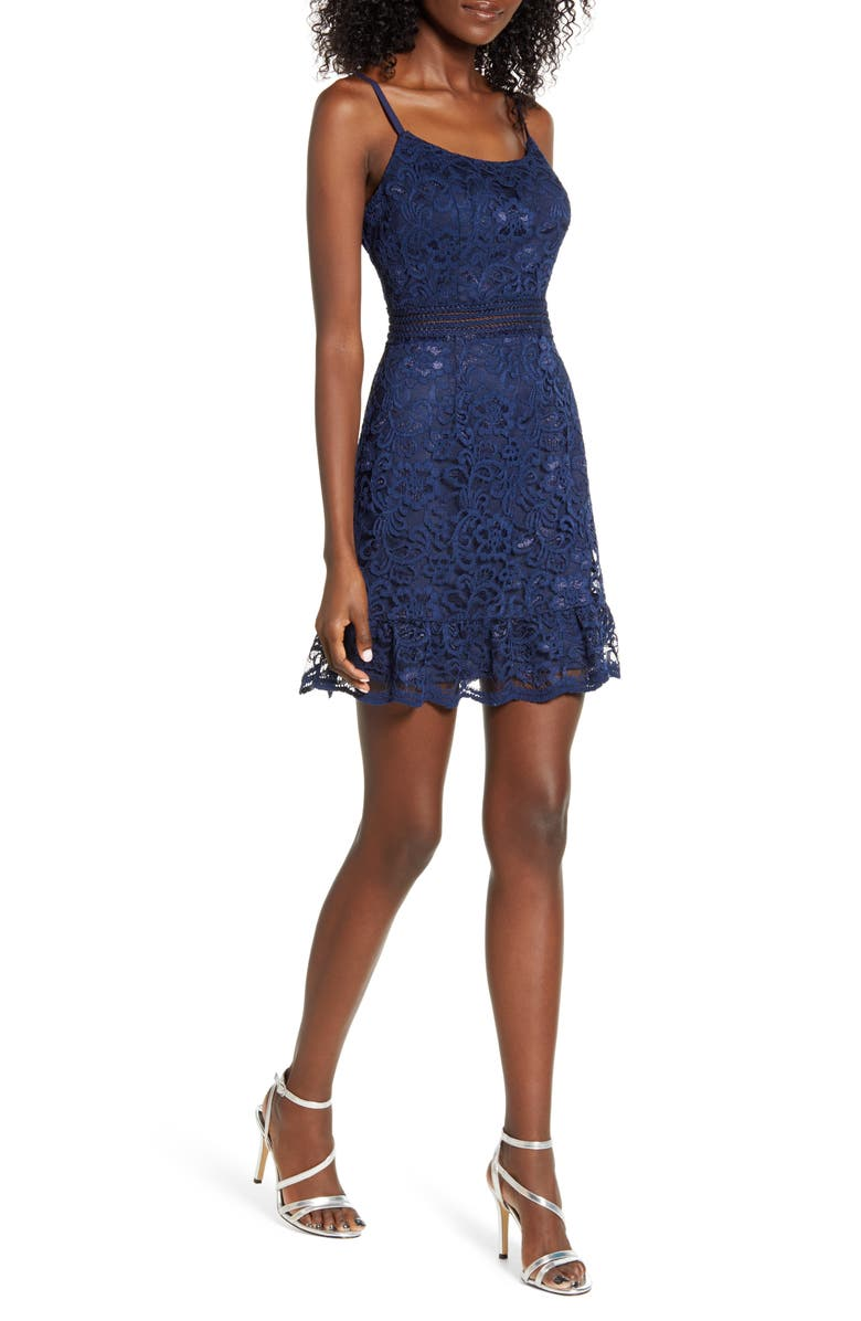 SPEECHLESS Lace Minidress, Main, color, NAVY