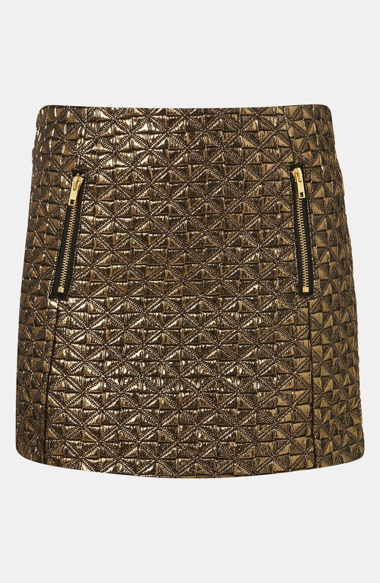 TOPSHOP Metallic Jacquard Miniskirt, Main, color, Gold