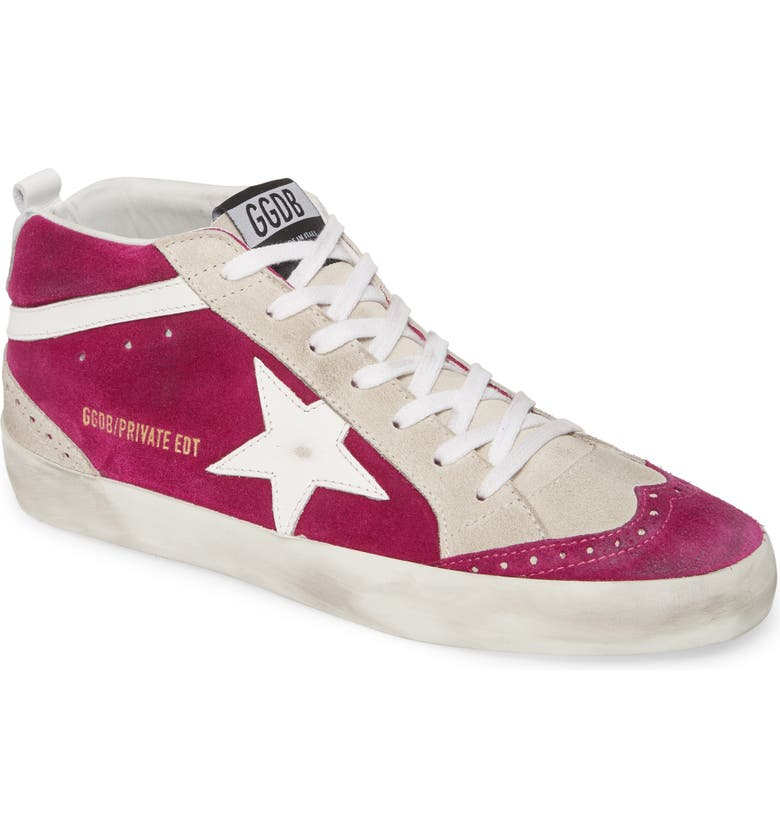 GOLDEN GOOSE Mid Star Sneaker, Main, color, PINK SUEDE/ WHITE