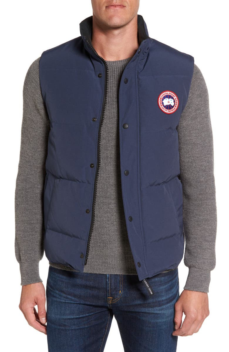 CANADA GOOSE Garson Regular Fit Quilted Down Vest, Main, color, NAVY