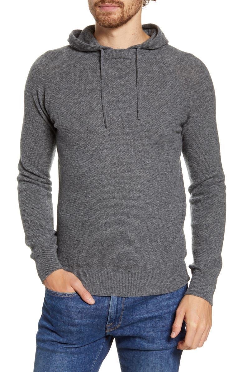 HARTFORD Wool & Cashmere Piqué Hoodie, Main, color, THUNDER GREY