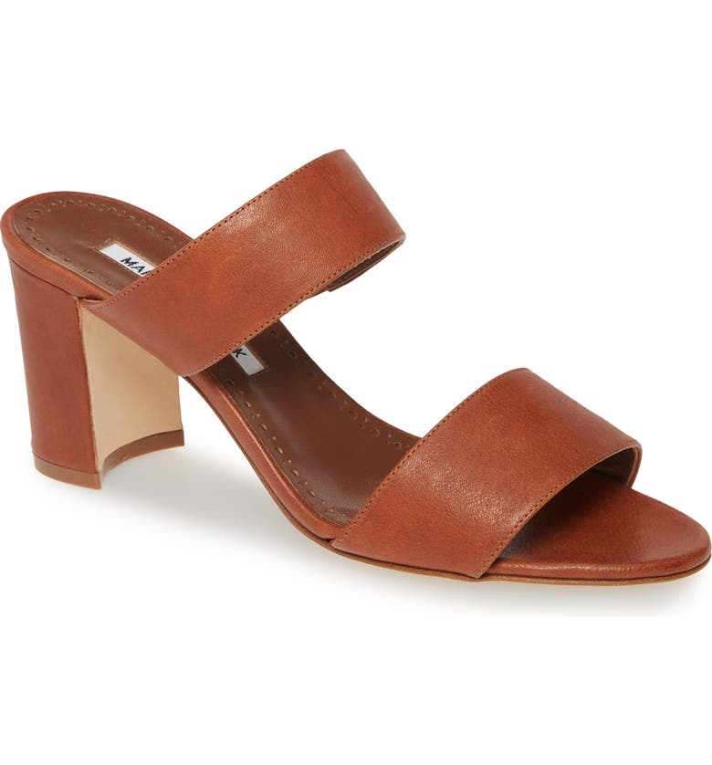 MANOLO BLAHNIK Kalita Strappy Slide Sandal, Main, color, TAN LEATHER