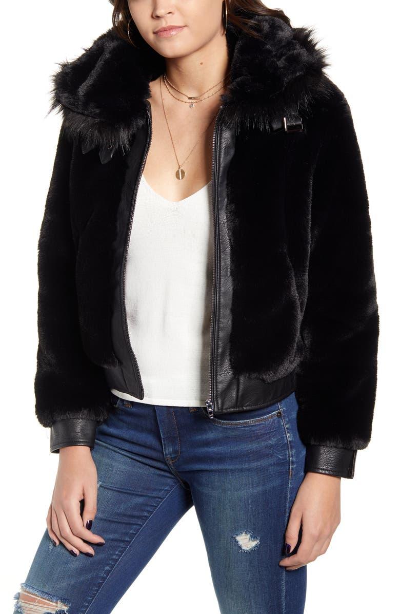 BLANKNYC Faux Fur Jacket, Main, color, BLACK NOISE