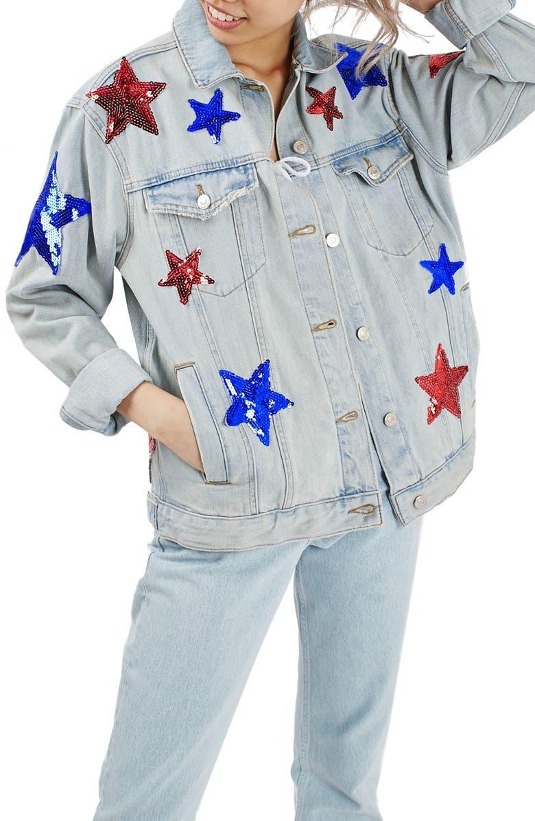 TOPSHOP Sequin Star Denim Jacket, Main, color, 420