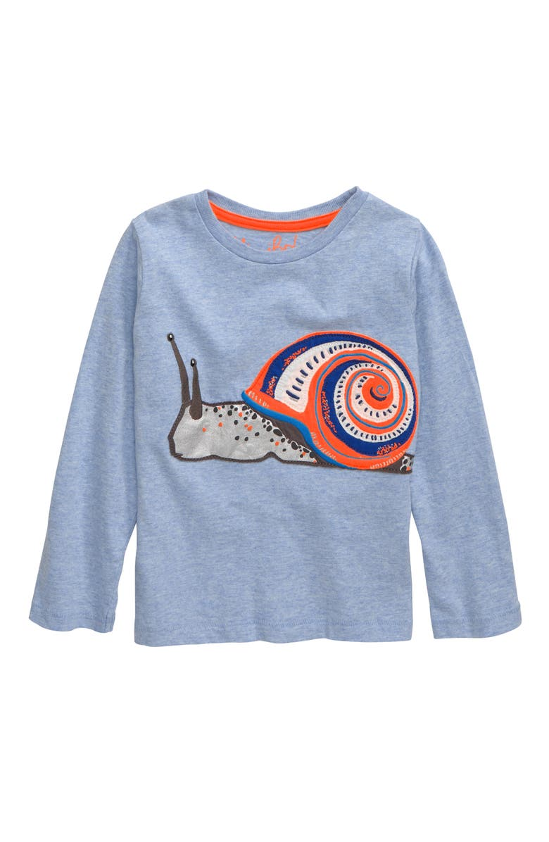 MINI BODEN Awesome Animal Snail T-Shirt, Main, color, PROVENCE BLUE