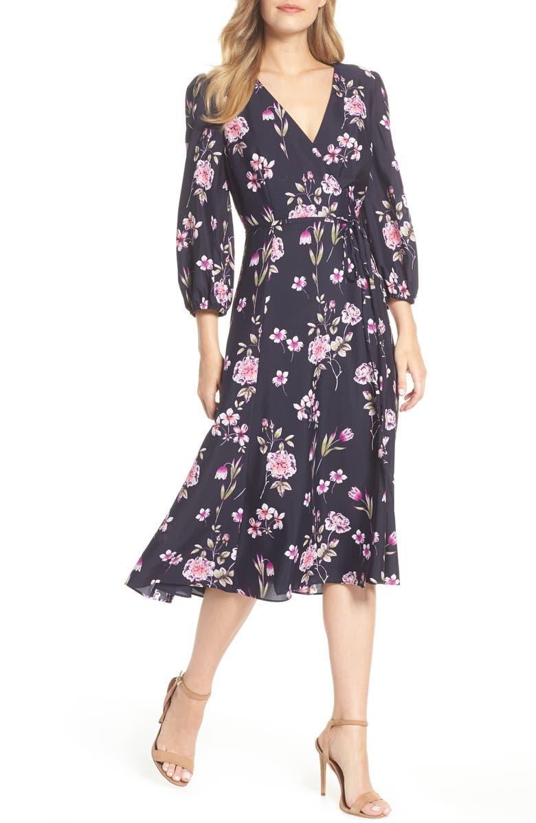 ELIZA J Floral Print Wrap Dress, Main, color, 410