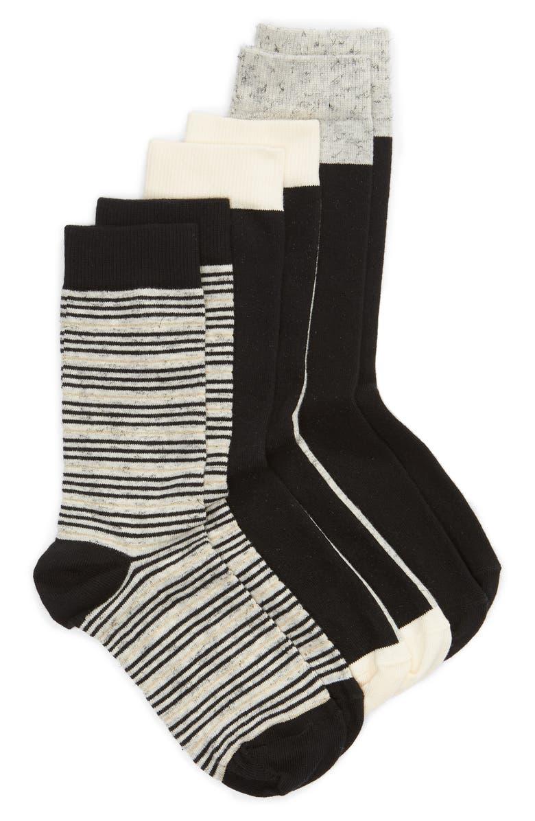 NORDSTROM 3-Pack Crew Socks, Main, color, 001