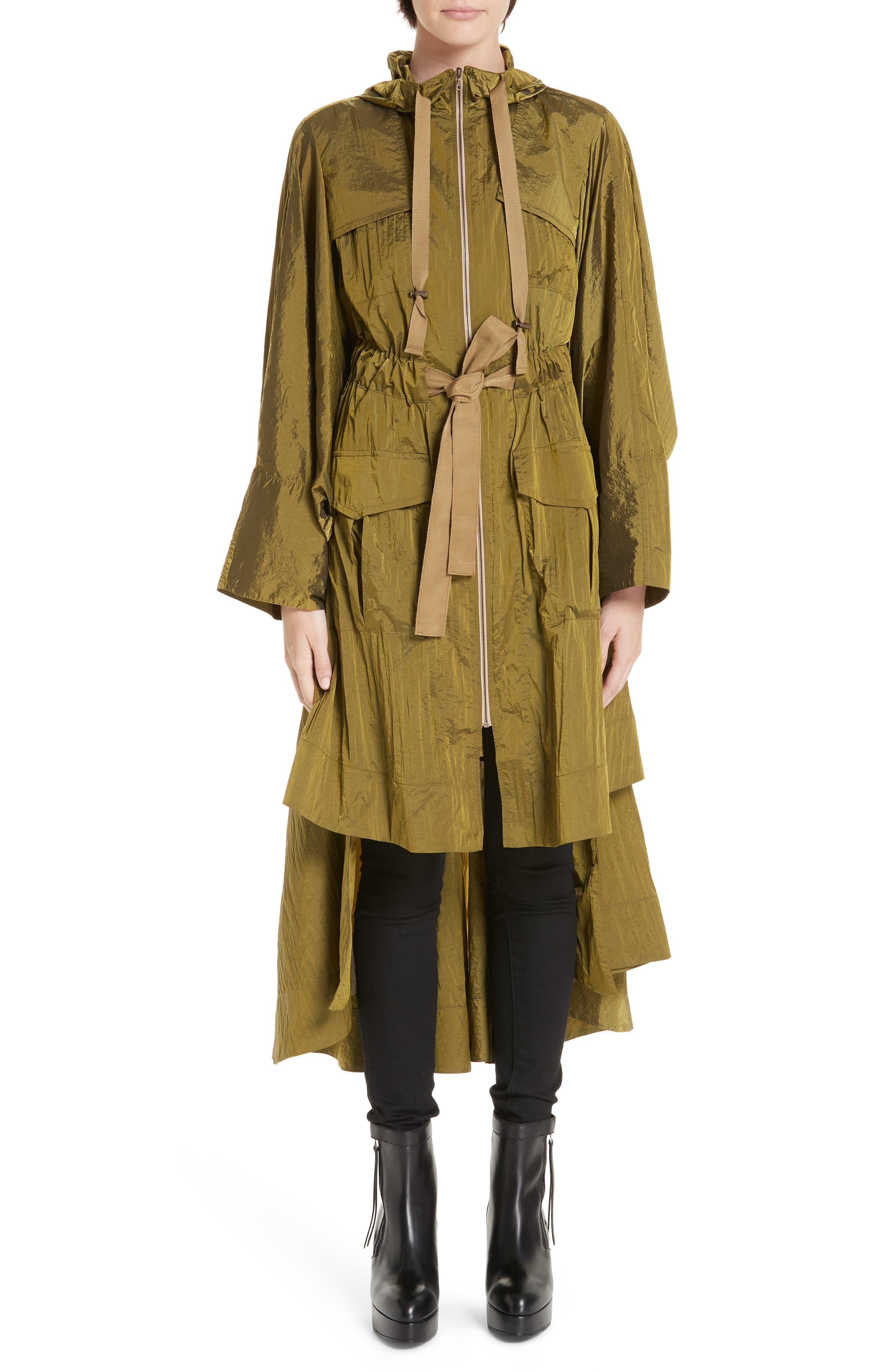 Brooke Drawstring Coat, Main, color, LIGHTWEIGHT KHAKI NYLON