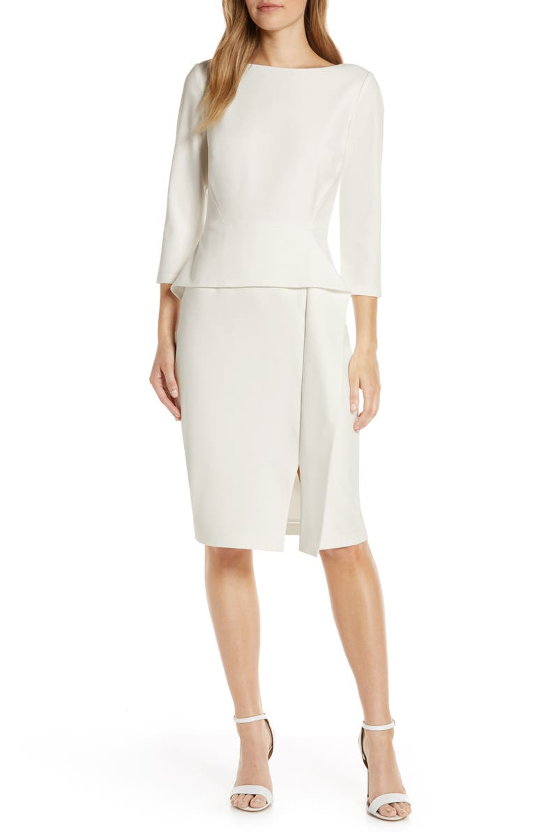 VINCE CAMUTO Angled Ruffle Sheath Dress, Main, color, IVORY