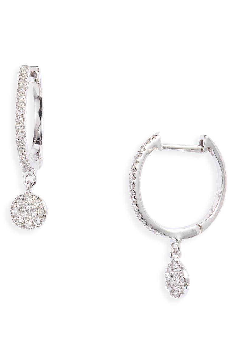 MEIRA T Diamond Disc Drop Huggie Hoop Earrings, Main, color, 710