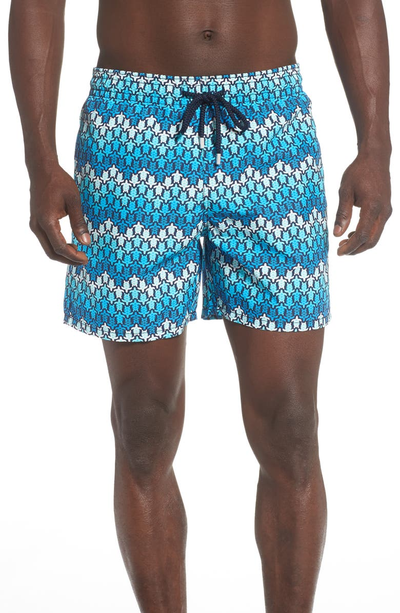 VILEBREQUIN Moorea Herringbone Turtle Print Swim Trunks, Main, color, BLEU MARINE