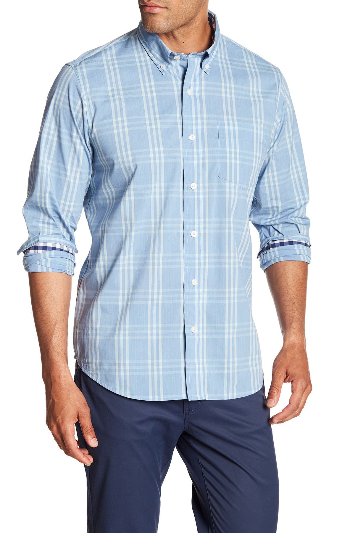 Image of Tailor Vintage Plaid Long Sleeve Stretch Fit Shirt