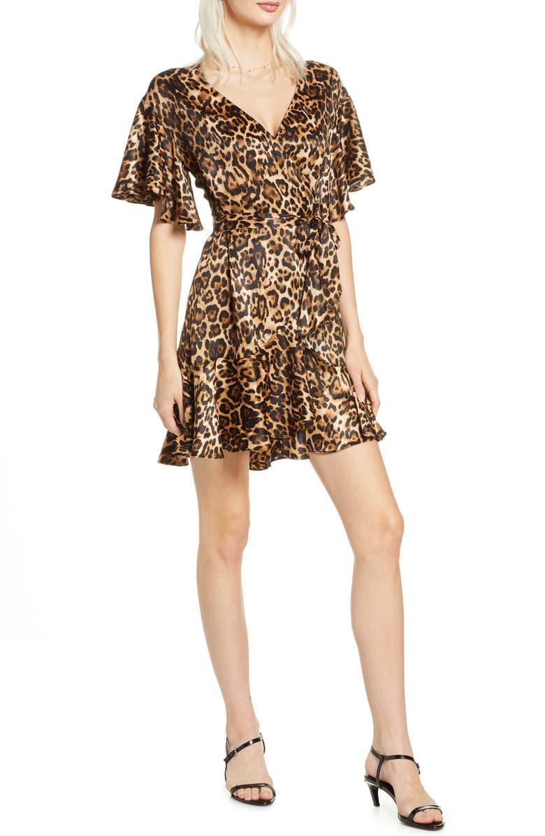 BB DAKOTA Leopard Print Satin Wrap Dress, Main, color, 200
