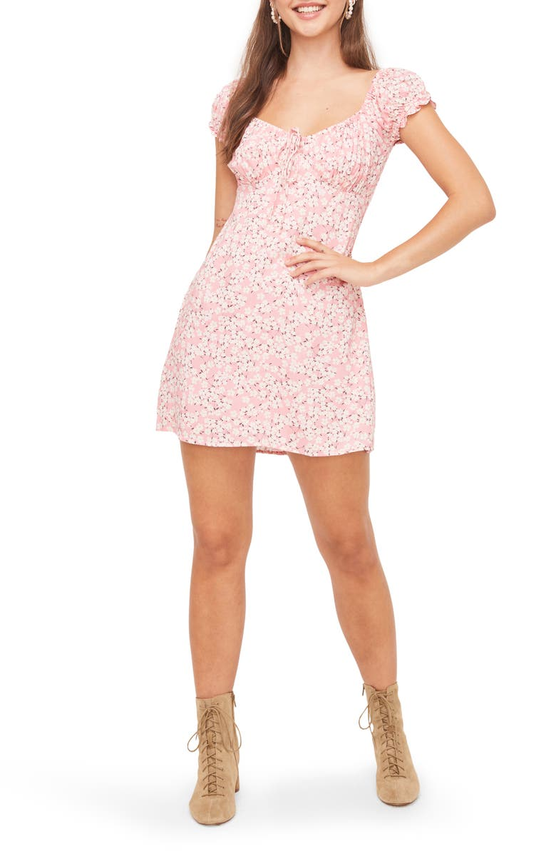 ALL IN FAVOR Floral Print Puff Sleeve Minidress, Main, color, PINK DITSY