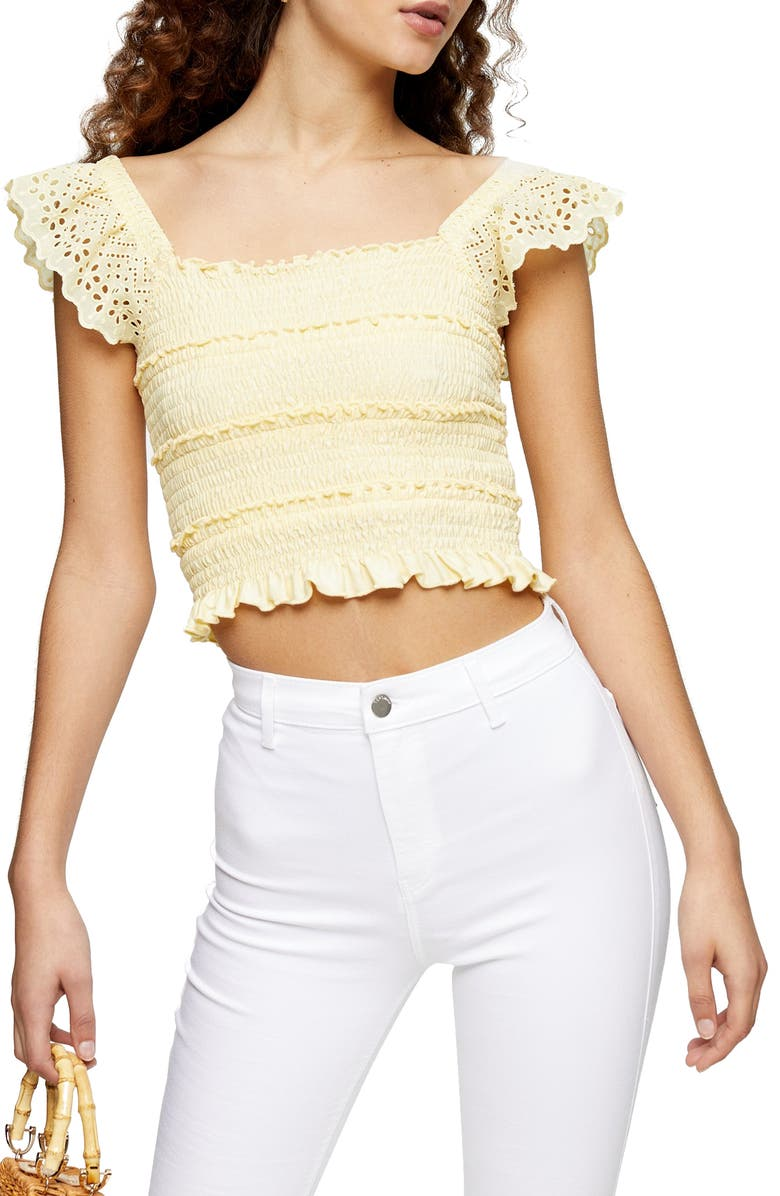Smocked Ruffle Strap Crop Top
