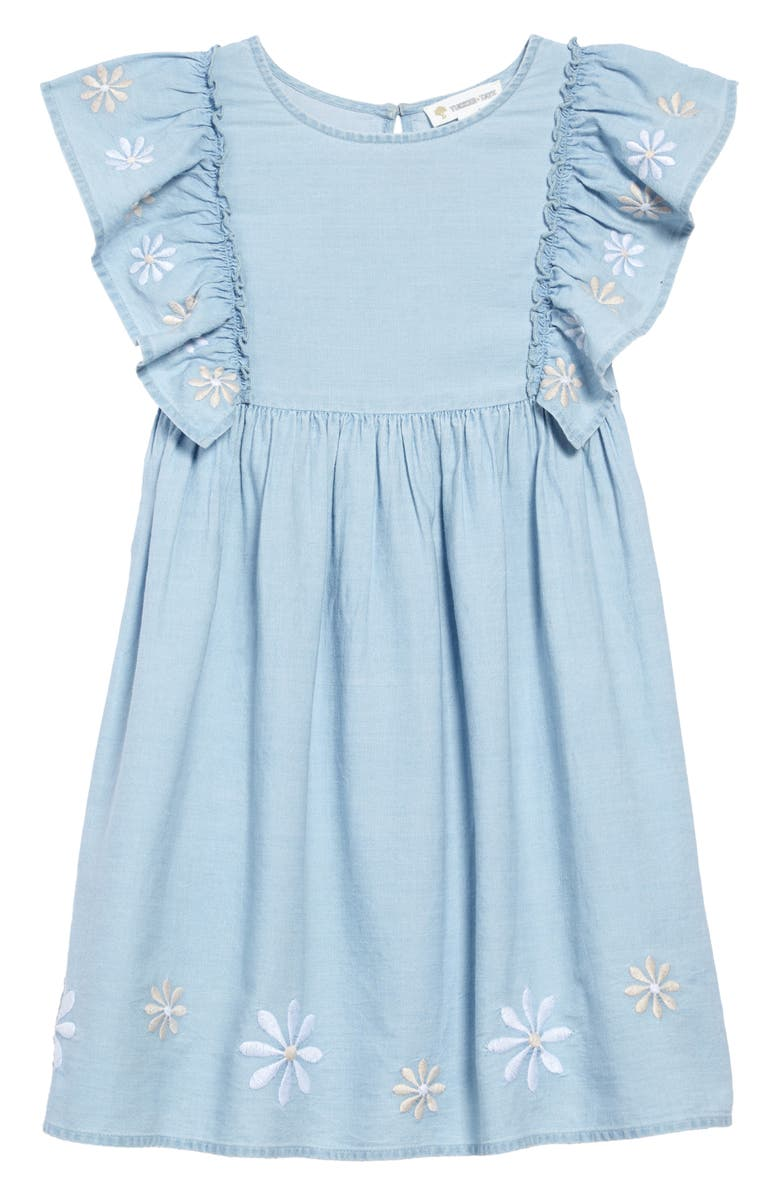 TUCKER + TATE Embroidered Ruffle Sleeve Dress, Main, color, SEASIDE BLUE WASH