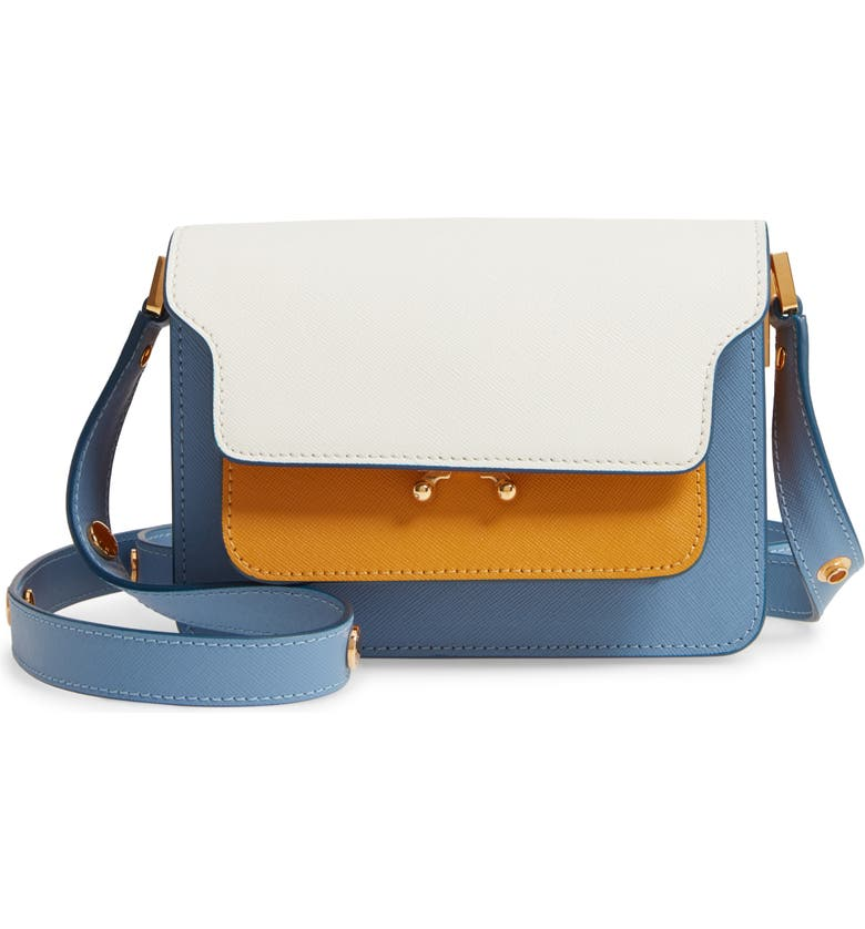 MARNI Small Trunk Colorblock Leather Shoulder Bag, Main, color, NATURAL WHITE/ PUMPKIN/ OPAL