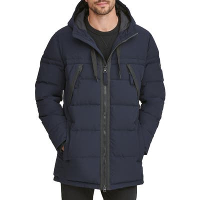 Marc New York Holden Water Resistant Down & Feather Fill Quilted Coat, Blue