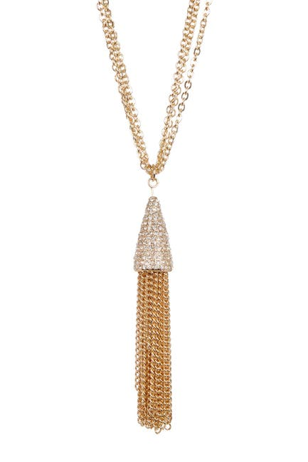 Image of Savvy Cie Multi Chain Crystal Tassel Necklace - 32""