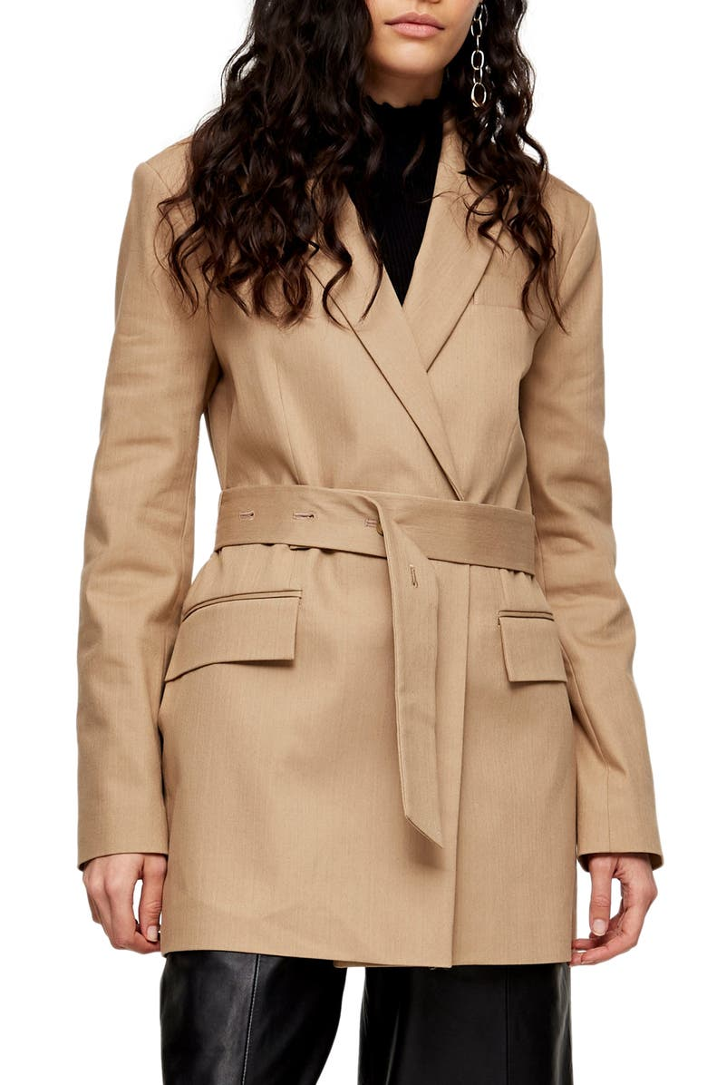 TOPSHOP Farrah Belted Blazer, Main, color, STONE