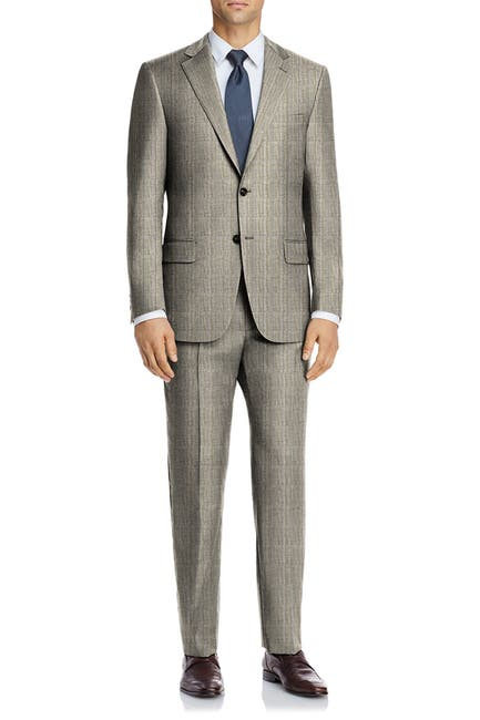 Image of Hart Schaffner Marx Tan Check Plaid Two Button Notch Lapel New York Fit Suit