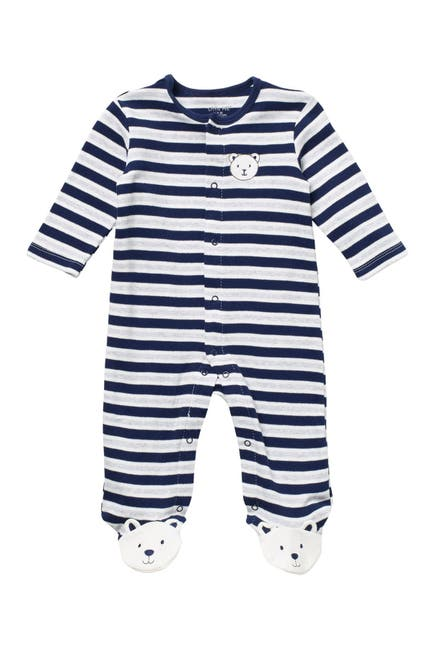 Image of Little Me Bear Stripe Print Footie