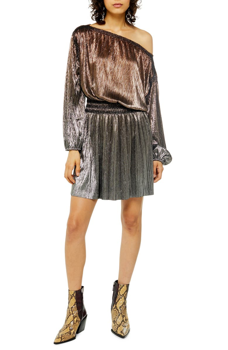 TOPSHOP Metallic Plissé Minidress, Main, color, BRONZE