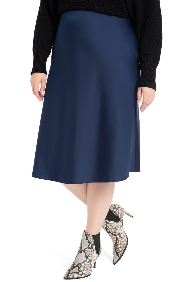 ELOQUII Satin Midi Skirt, Main, color, 400