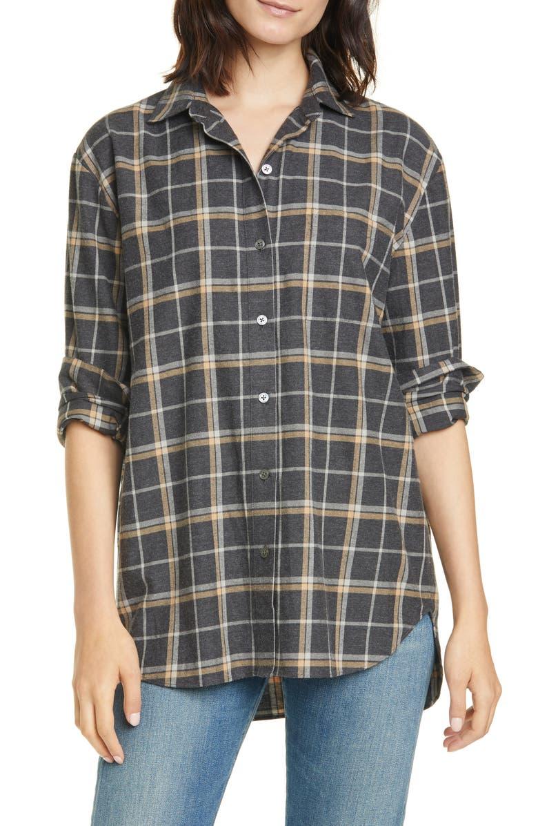 JENNI KAYNE Plaid Flannel Shirt, Main, color, CHARCOAL