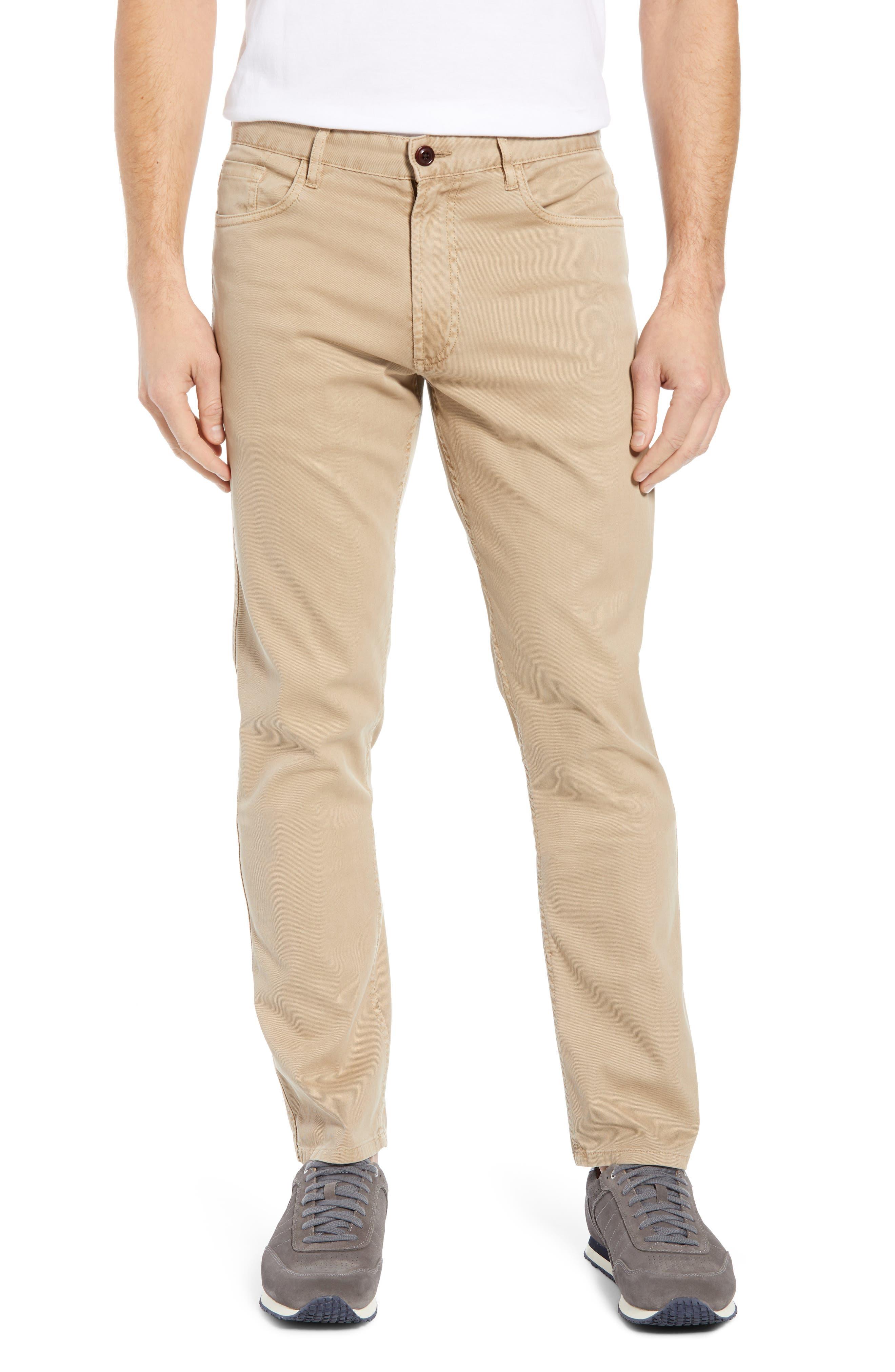 Faherty Comfort Twill Straight Leg Five-Pocket Pants, Beige