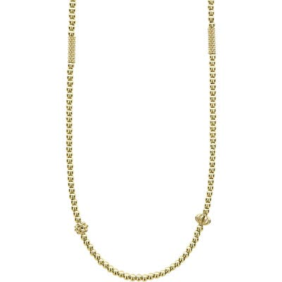 Lagos 18K Gold Caviar Bead Station Chain Necklace