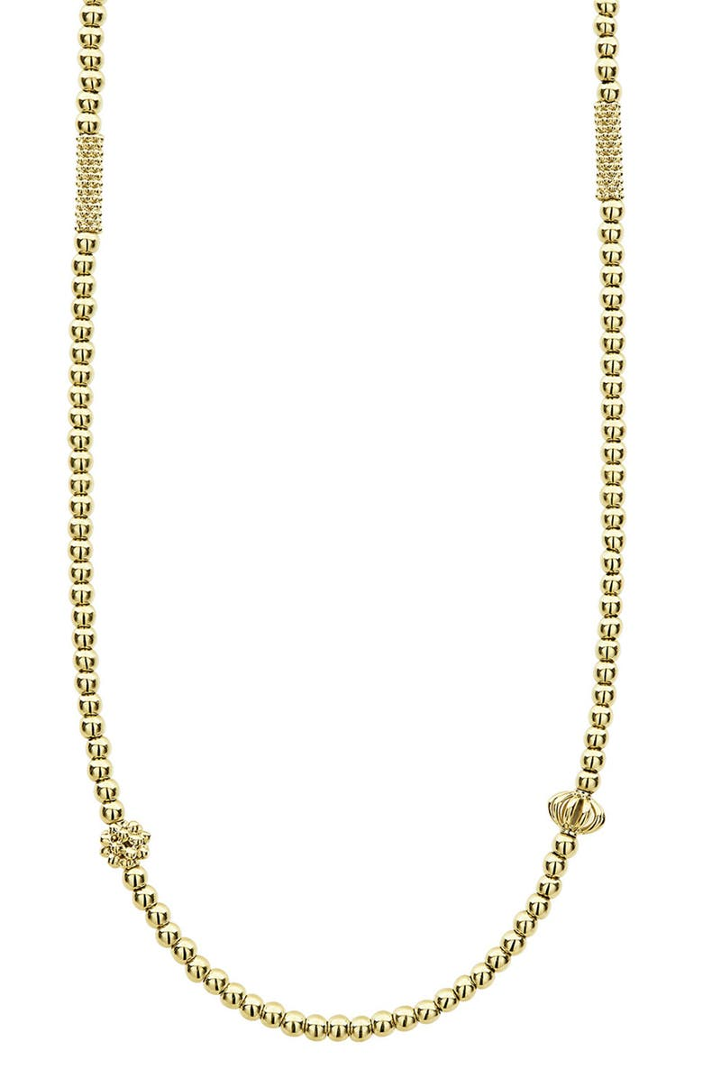 LAGOS 18K Gold Caviar Bead Station Chain Necklace, Main, color, GOLD